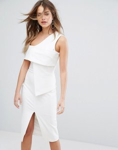 Read more about Lavish alice asymmetric midi dress - off white