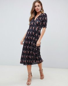 Read more about Asos design midi plisse dress in ditsy print with button detail - ditsy print