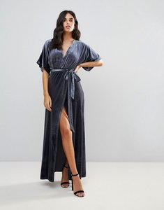 Read more about Wyldr dreamer desert moon velvet maxi wrap dress with low neckline - silver