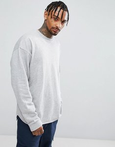 Read more about Asos oversized longline sweatshirt with curved hem in grey - grey marl