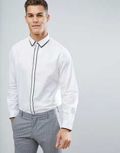 Read more about Process black contrast tipped collar and placket slim fit shirt - white
