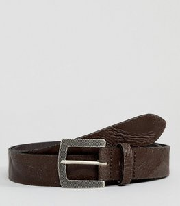 Read more about Asos design smart slim belt in vintage look leather in brown with emboss buckle - brown