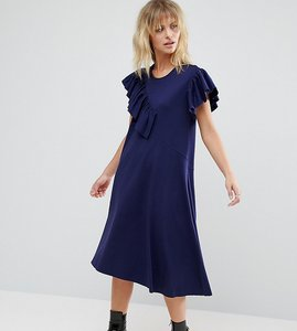 Read more about Asos petite t-shirt dress with frill detail - navy