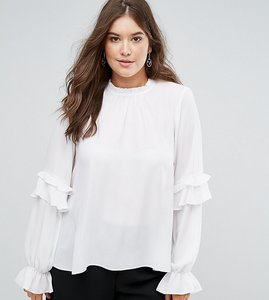 Read more about Asos curve high neck ruffle sleeve blouse - ivory