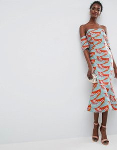 Read more about Asos tropical pephem jacquard pencil midi dress - multi