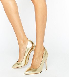 Read more about Asos playful wide fit pointed heels - gold