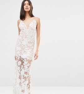 Read more about Club l cami strap floral sequin fishtail backless maxi dress - nude cream