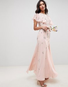 Read more about Asos design bridesmaid embellished maxi dress with angel sleeve - blush