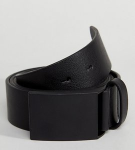 Read more about Asos plus wide faux leather belt in black with matte black plate buckle - black