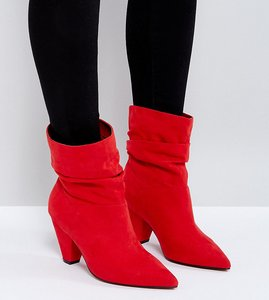 Read more about Asos reeves wide fit slouch heeled ankle boots - red