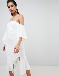 Read more about Asos design bandeau kimono sleeve midi dress with tux button detail - ivory