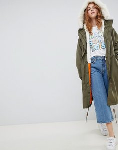 Read more about Monki faux fur trim parka - khaki