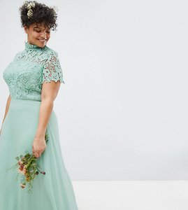 Read more about Chi chi london plus 2 in 1 high neck maxi dress with crochet lace - green lily