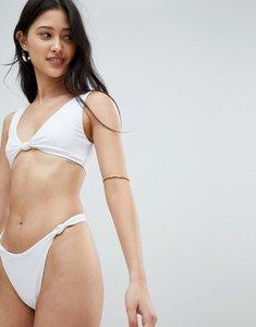 Read more about Asos design knot minimal high leg thong bikini bottom in white - white