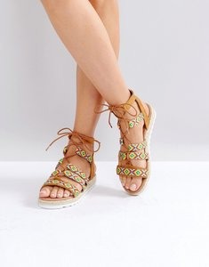 Read more about Glamorous pattern caged espadrille flat sandals - multi