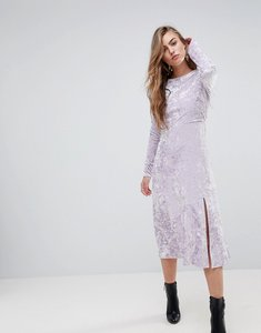 Read more about Miss selfridge velvet midi skater dress - lilac