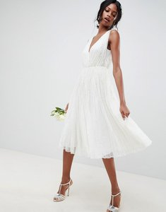 Read more about Asos edition waterfall sequin midi wedding dress - white