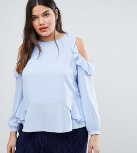 Read more about Asos curve blouse with ruffle cold shoulder - ice blue