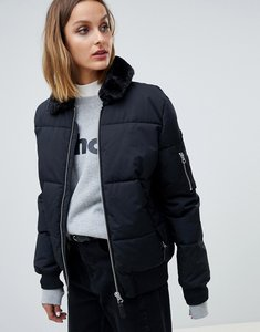 Read more about Schott padded jacket with hood lining and faux fur collar - black
