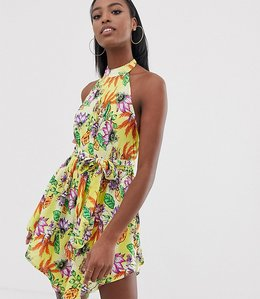 Read more about Asos design tall high neck hanky hem beach dress in yellow tropical print