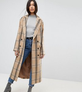 Read more about Asos tall wool coat in check - multi