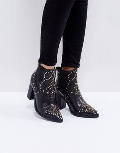 Read more about Steve madden himmel leather studded heeled boots - black
