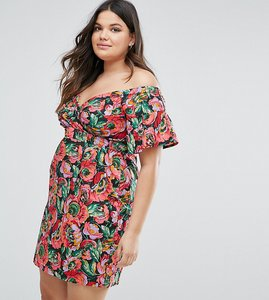 Read more about Asos curve ruffle sleeve bardot pencil dress in bright floral print - multi