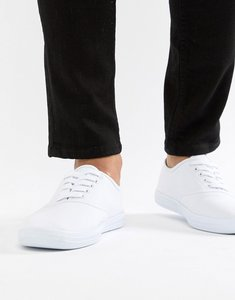 Read more about Asos design oxford plimsolls in white canvas - white