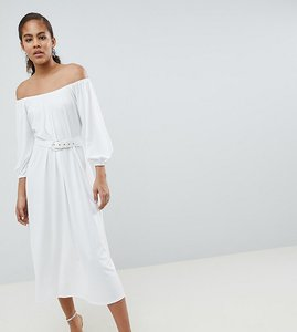 9ff6a8404de Read more about Asos design tall bardot midi dress with belt - white