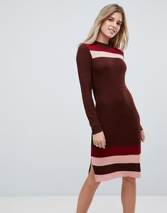 Read more about First i stripe knit bodycon dress - red