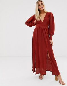 Read more about Asos design maxi plisse dress with shirred waist and splits