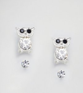 Read more about Johnny loves rosie 2 pack stud with owl - silver black