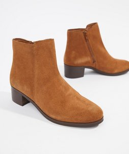 Read more about Rule london suede mid heel boot - chestnut suede