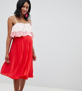 Read more about Asos design maternity nursing tiered double layer pleated skirt dress - multi