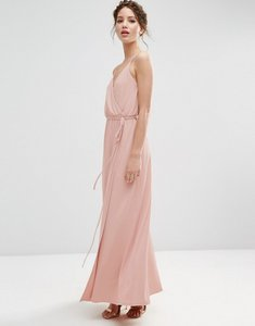 Read more about Asos wedding crepe strappy wrap maxi dress - pink