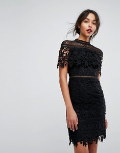 Read more about Chi chi london lace high neck mini dress in black - black