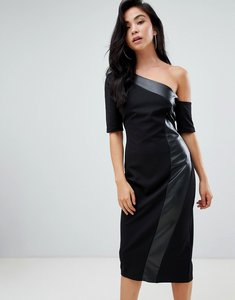 Read more about Asos design one shoulder pencil dress with faux leather panel - black
