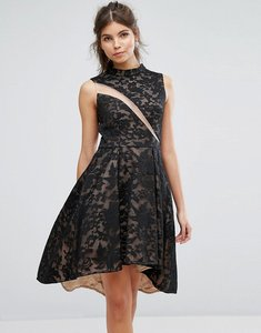 Read more about Forever unique lace skater dress - black nude