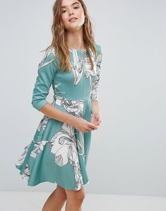 Read more about Closet floral ponte 3 4 sleeve skater dress - mint multi