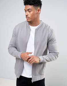 Read more about Asos jersey bomber jacket in grey - spoon