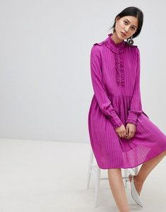 Read more about Y a s high neck ruffle smock dress - purple
