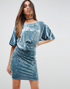 Read more about Asos drape front dress in crushed velvet - dusty blue