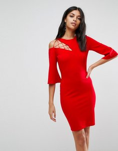 Read more about Asos fluted sleeve shift dress with ladder detail - red