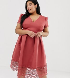 Read more about Little mistress plus plunge front full prom midi dress with lace hem in terracotta