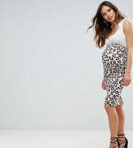 Read more about Asos maternity over the bump longer line midi skirt in leopard print - multi
