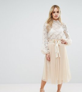 Read more about John zack petite pleated tulle midi skirt co-ord - vintage cream