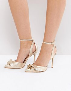 Read more about Carvela metallic ruffle heeled shoes - gold