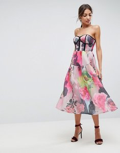 Read more about Asos bonded mesh bandeau floral midi prom dress - multi