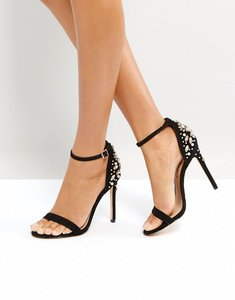 Read more about Office hottie embellished heeled sandals - black