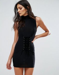 Read more about Club l sleeveless mini dress with corset lace up detail - black